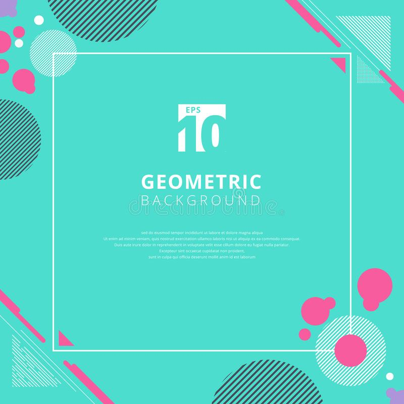 Geometrisk modelldesign för abstrakt rosa cirkel på blå färgbakgrund med kopieringsutrymme Bruk för den moderna designen, räkning stock illustrationer