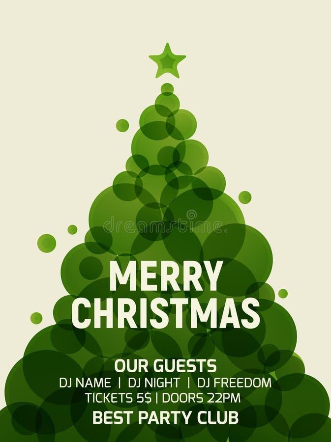 Geometrisk modern design för julgranhälsningkort Inbjudan för garnering för reklamblad för ferie för lägenhet för vektorxmas-träd royaltyfri illustrationer