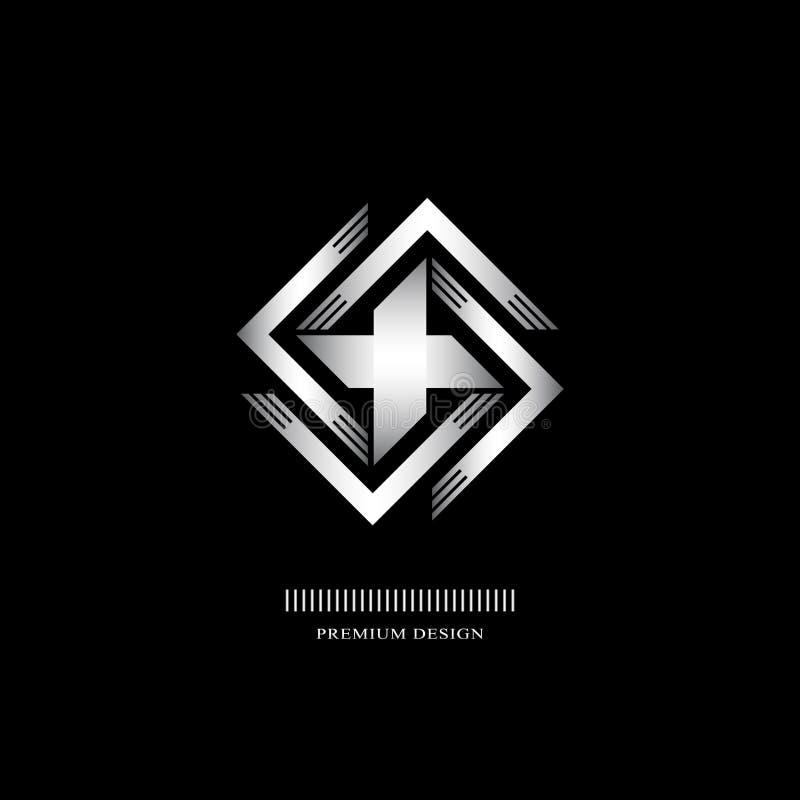 Geometrisk monogramlogo Abstrakt silverhakkors i moderiktig stil vektor illustrationer