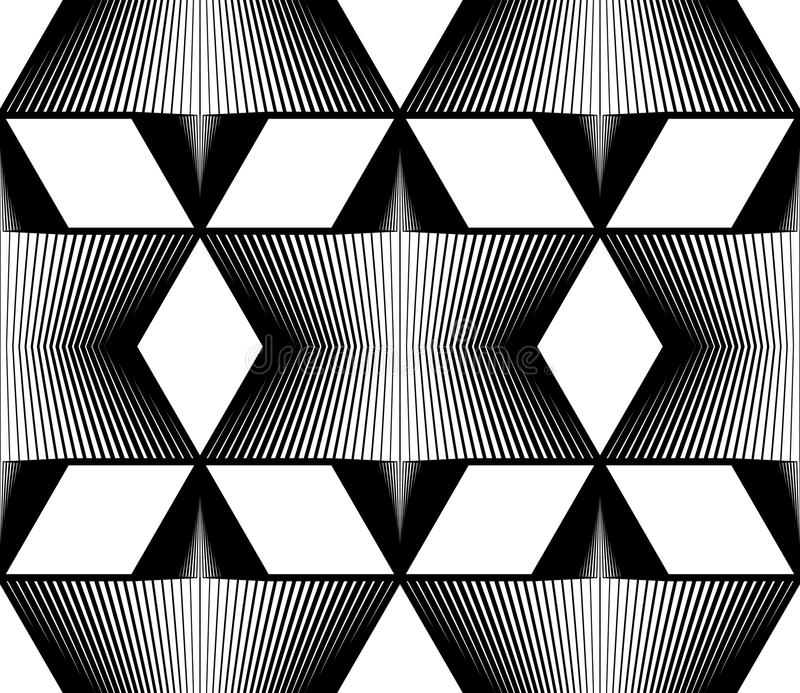 Geometrisk monokrom strimmig sömlös modell som är svartvit vektor illustrationer