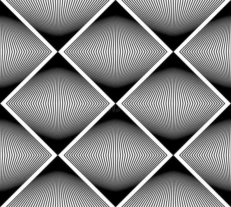Geometrisk monokrom strimmig sömlös modell, svartvit ve stock illustrationer