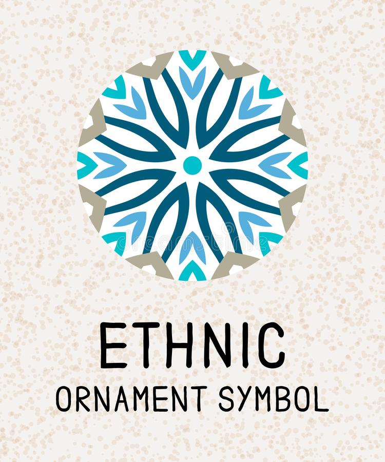 Geometrisk mosaik för Mandala Logomallar för brunnsort och yogamitt Indisk antistress medaljong Koppla av symbolmodellen Abstrakt vektor illustrationer