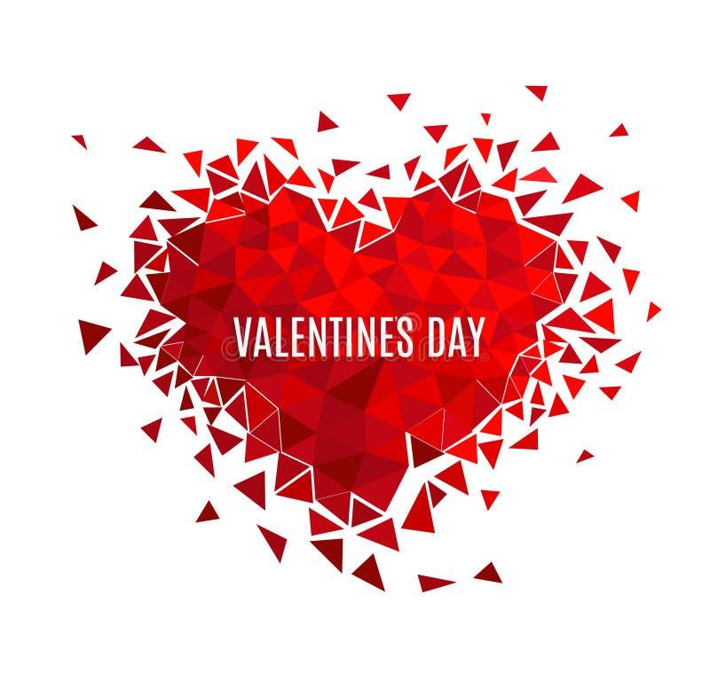 Geometrisk mosaisk hjärta för vektor E valentin för dag s Blänka förälskelsekonfettier royaltyfri illustrationer