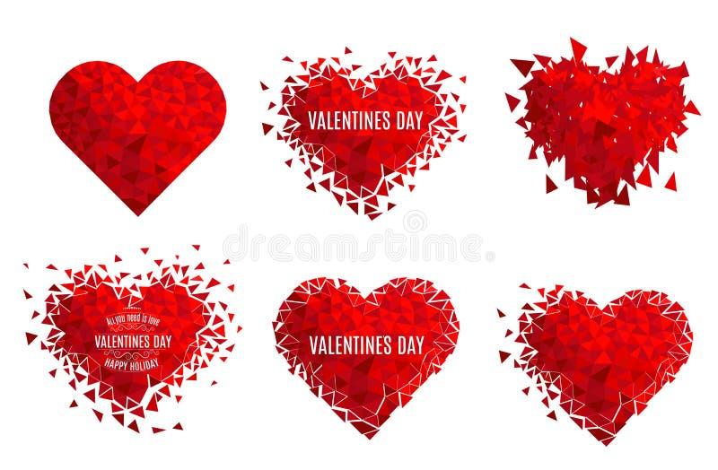 Geometrisk mosaisk hjärta för vektor E valentin för dag s Blänka förälskelsekonfettier vektor illustrationer