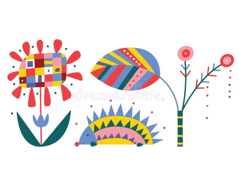 geometrisk natur för element stock illustrationer