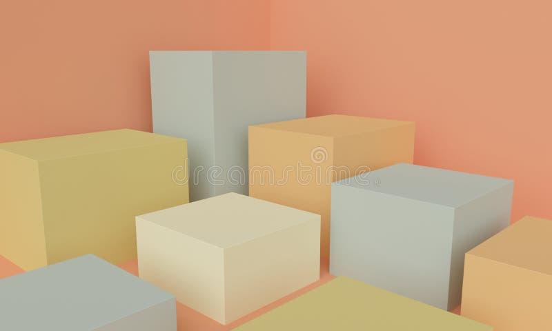 Geometrisk orange abstrakt bakgrund med kulöra kubplattformar framf?rande 3d vektor illustrationer