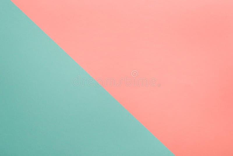 Geometrisk pappers- bakgrund för korall- och turkosabstrakt begrepp royaltyfria foton