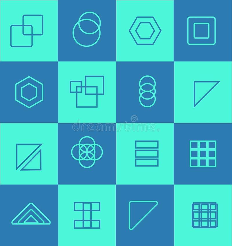 Geometrisk plan symbolslogouppsättning royaltyfri illustrationer