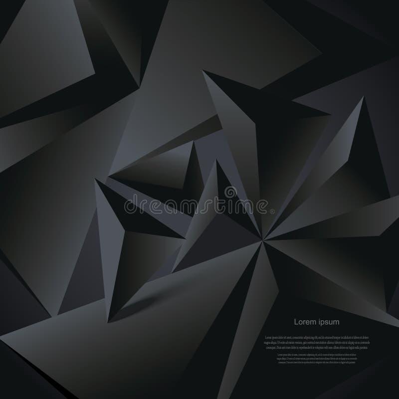 Geometrisk polygonal form för abstrakt svart vektorbakgrund stock illustrationer