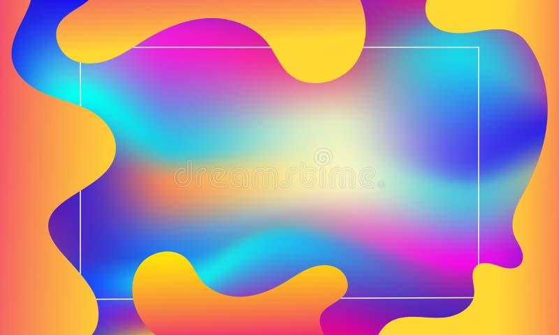 Geometrisk räkning Färgrik bandsammansättning för lutning Kyla det orange ingreppet för modernt neon Abstrakta vätskeformer Flyta royaltyfri illustrationer