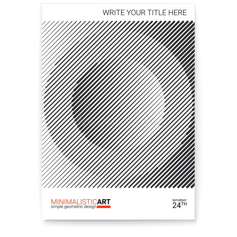 Geometrisk räkningsdesign som är modern Idérik affisch med enkel form i bauhausstil, minimalistic konst modern digital konst royaltyfri illustrationer