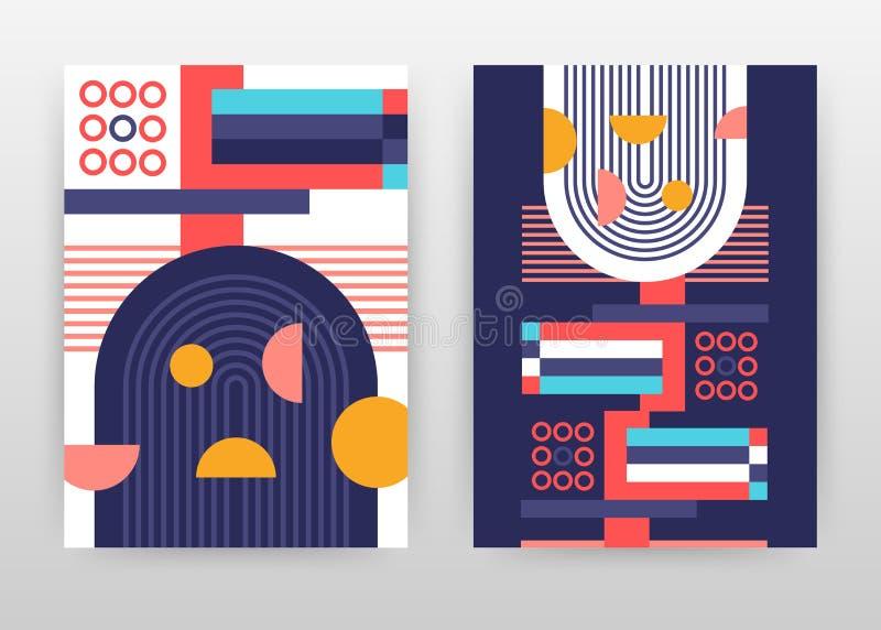 Geometrisk röd, blå fodrad rund design för beståndsdelaffärsbakgrund för årsrapporten, broschyr, reklamblad, affisch Geometriabst royaltyfri illustrationer