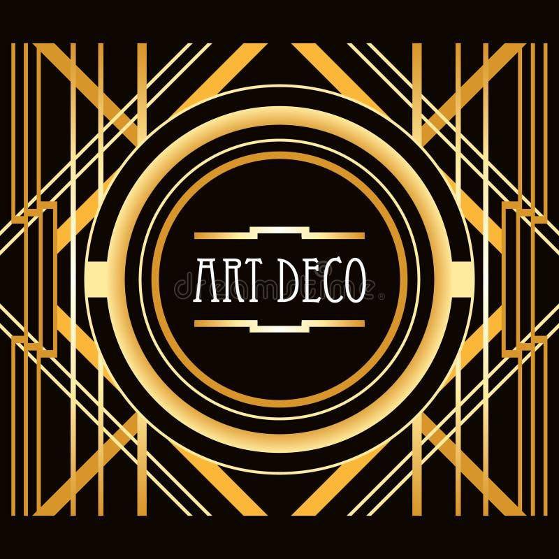 Geometrisk ram för Art Deco stilabstrakt begrepp royaltyfri illustrationer