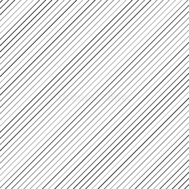Geometrisk randig bakgrund med svarta fortlöpande parallella diagonala linjer vektor royaltyfri illustrationer