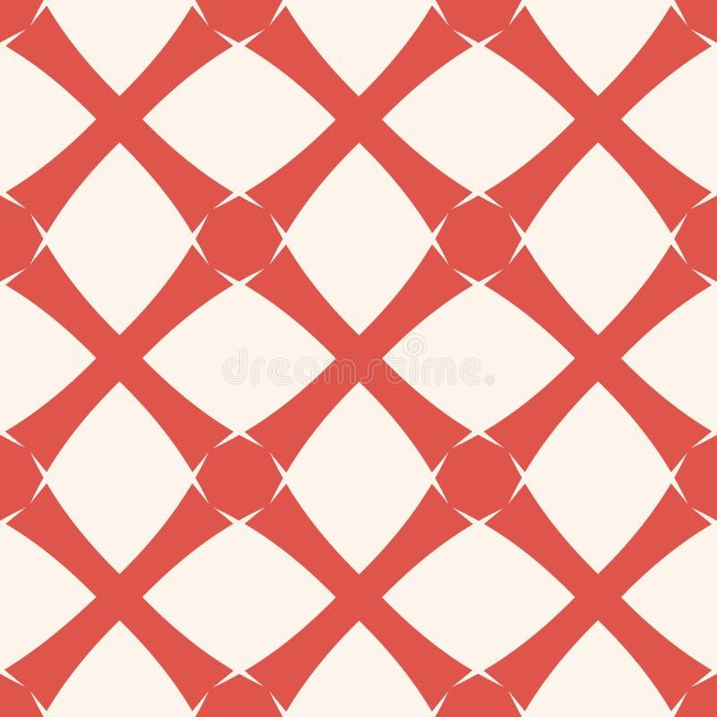 Geometrisk rasterbakgrund för vektor Abstrakt sömlös modell i röda och vita färger för terrakotta vektor illustrationer