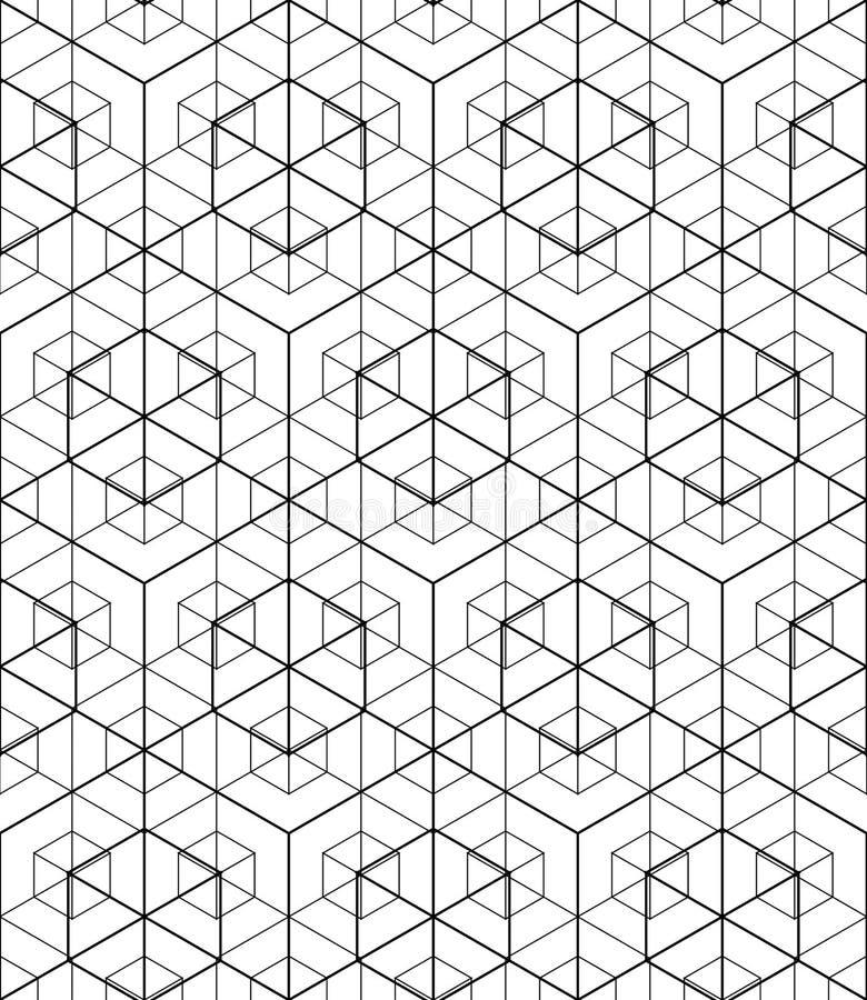 Geometrisk sömlös modell, ändlös svartvit vektor royaltyfri illustrationer