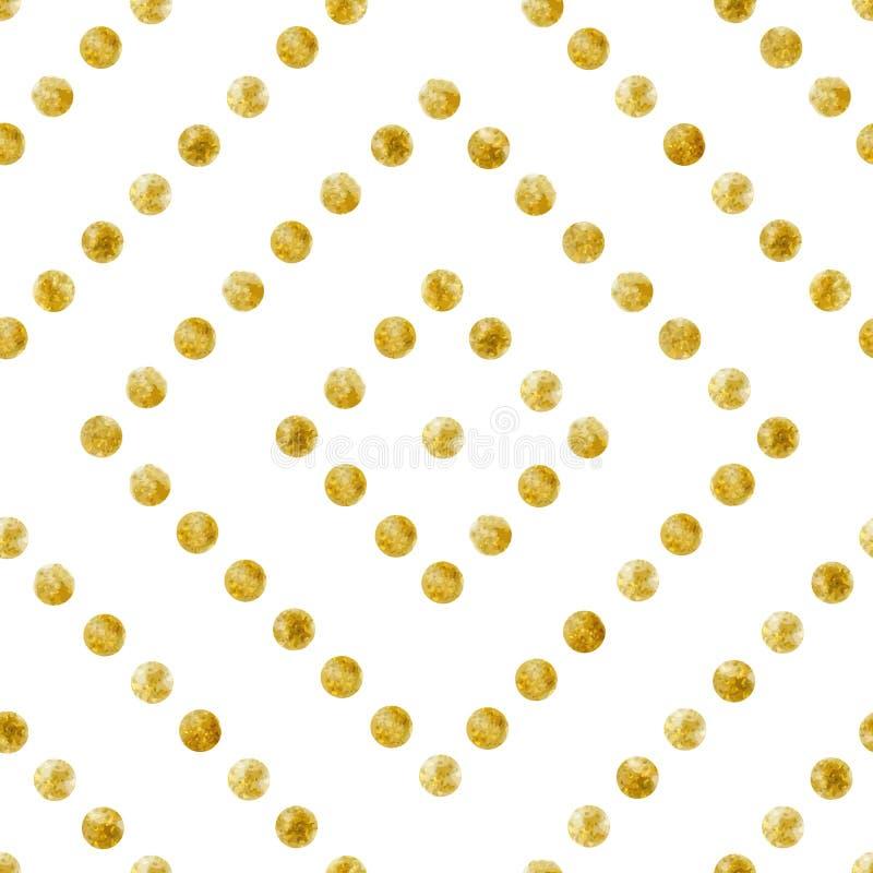 Geometrisk sömlös modell av guld- paljetter stock illustrationer