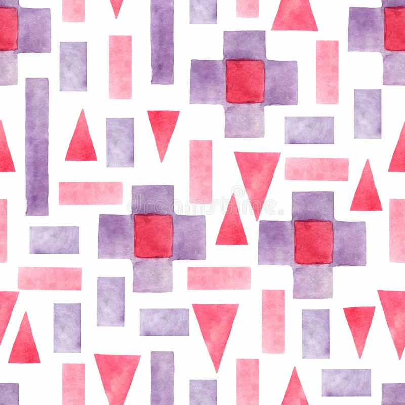 Geometrisk sömlös modell för abstrakt vattenfärg Trianglar med den aztec prydnaden, vattenfärgen och grungetexturer geometriskt stock illustrationer