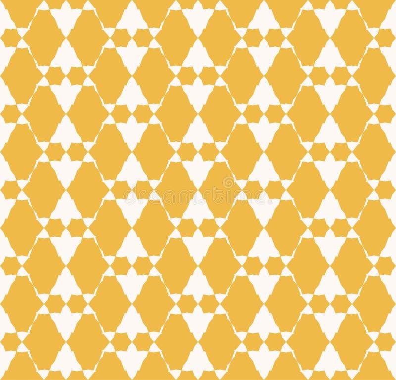 Geometrisk sömlös modell för guld- abstrakt vektor Etnisk folk motivprydnad vektor illustrationer