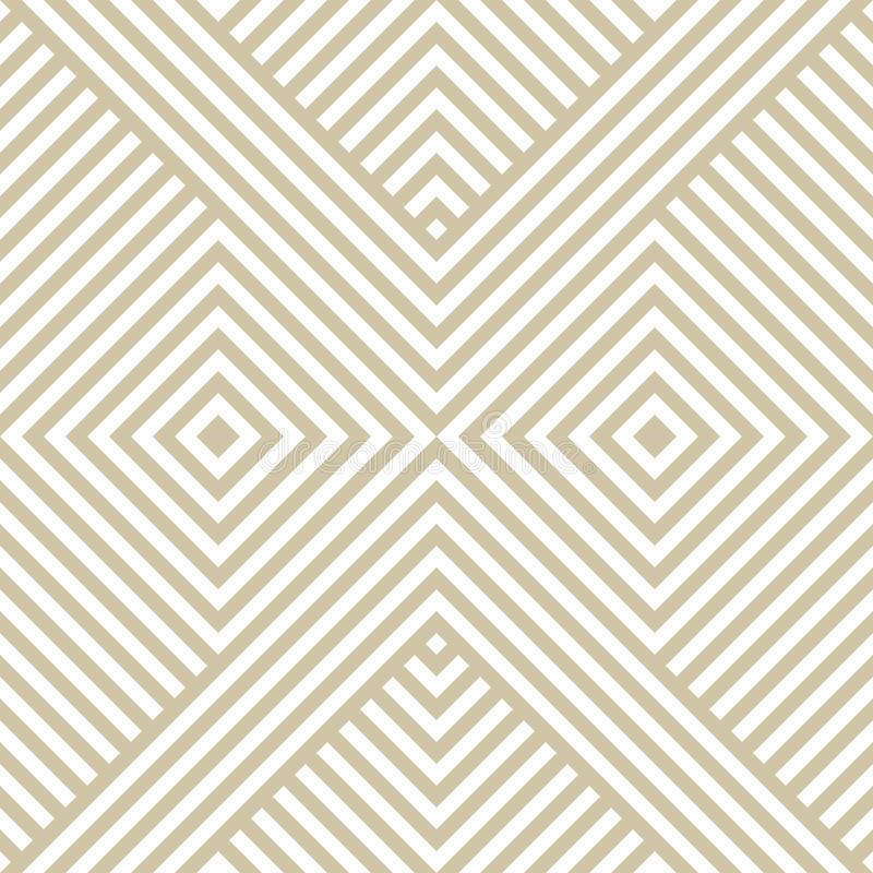 Geometrisk sömlös modell för guld- linjär vektor med diagonalband, fyrkanter, sparre stock illustrationer