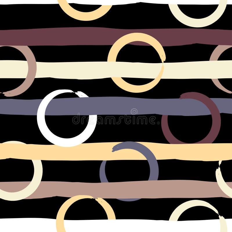 Geometrisk sömlös modell för gullig vektor Prickar och band var den abstrakt borsten målad verklig slaglängdtextur till spårat Ha royaltyfri illustrationer