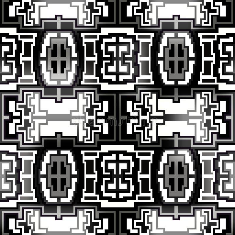 Geometrisk sömlös modell för härliga monokromma PIXEL royaltyfri illustrationer