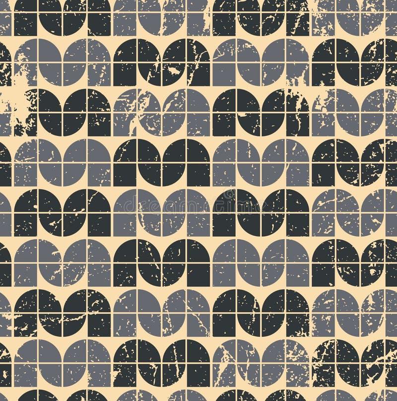 Geometrisk sömlös modell för svart dekorativ sliten textil, vektor vektor illustrationer