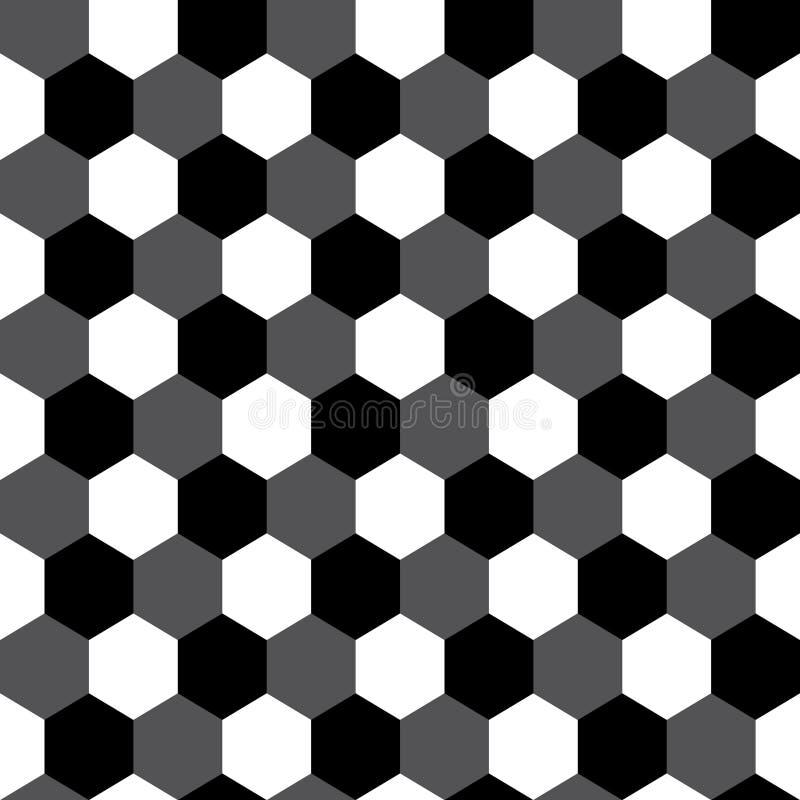 Geometrisk sömlös modell för svartvit sexhörning, vektor vektor illustrationer