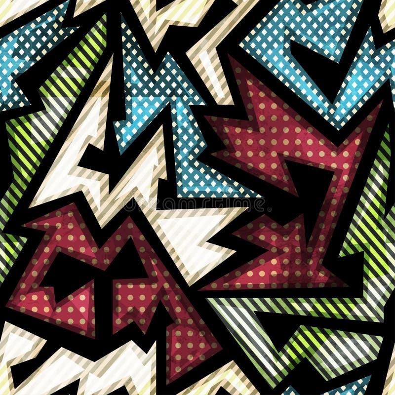 Geometrisk sömlös modell för torkduk med grungeeffekt stock illustrationer
