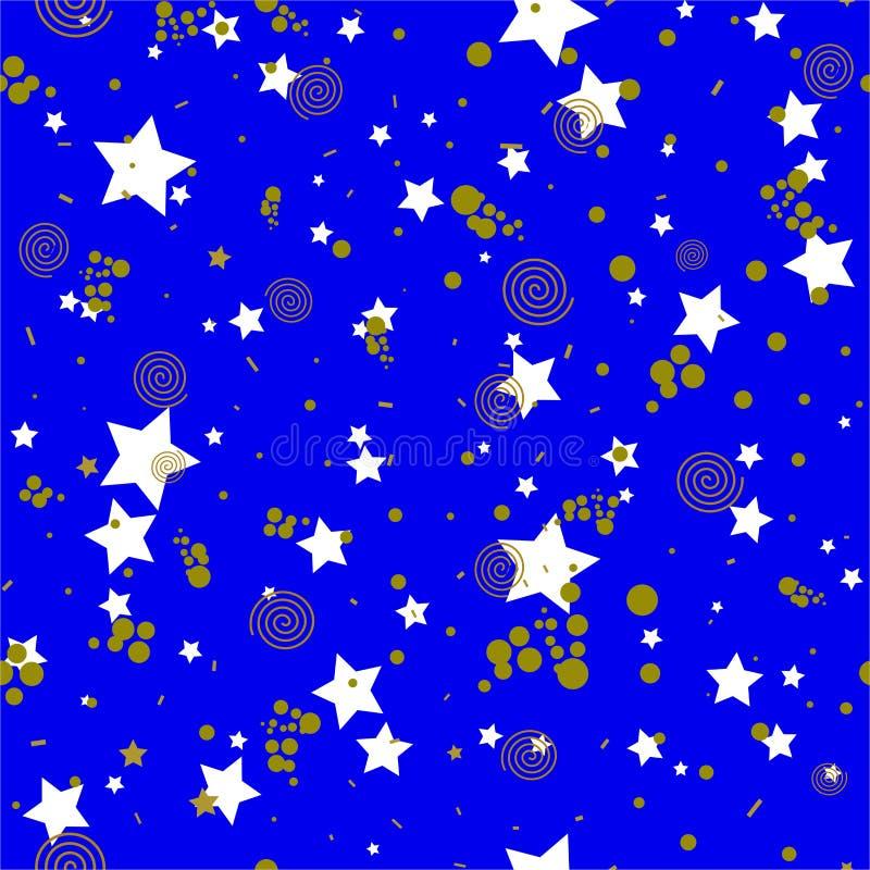 Geometrisk sömlös modell i abstrakt memphis stil, guld- cirklar, stjärnor, spiral stock illustrationer