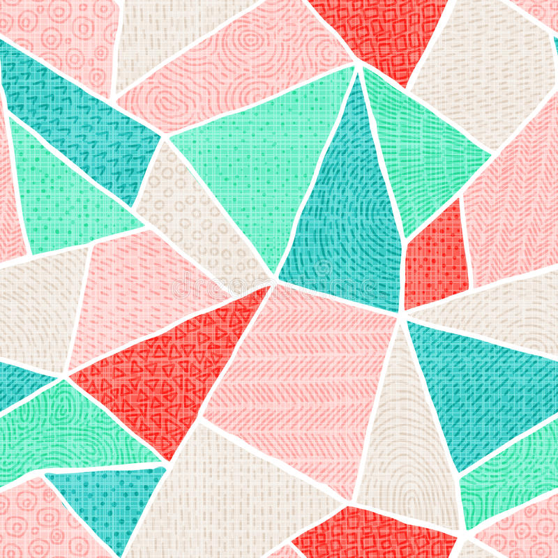Geometrisk sömlös modell i patchworkstil Mång--färgat tri vektor illustrationer
