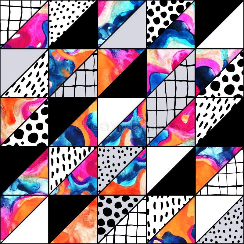 Geometrisk sömlös modell med handgjorda grunge- och vattenfärgtexturer royaltyfri illustrationer