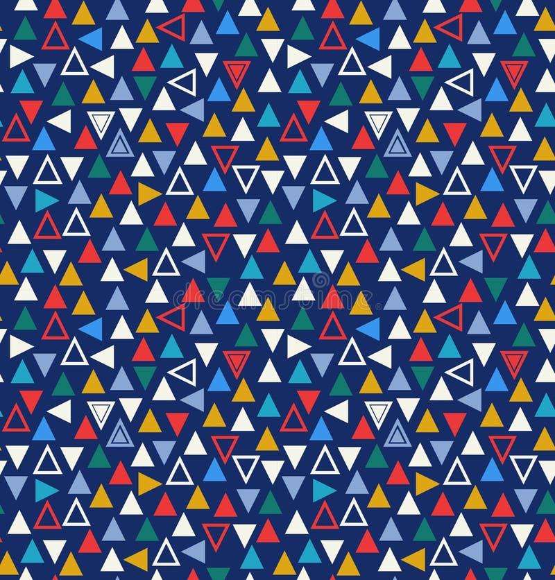 Geometrisk sömlös modell med trianglar multicolor vektor för abstrakt bakgrundsillustration stock illustrationer