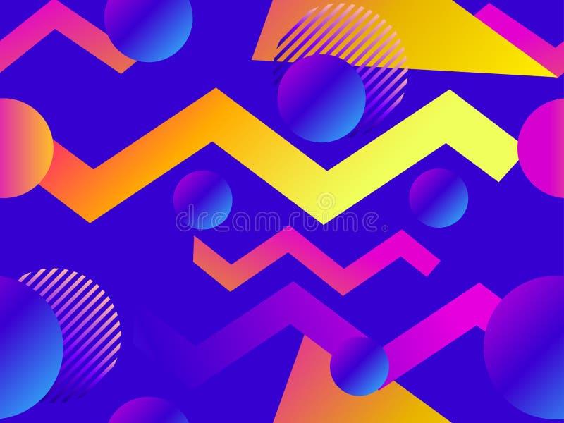 Geometrisk sömlös modell med vätskelutning Trianglar, cirklar och punkter moderiktig bakgrund vektor vektor illustrationer
