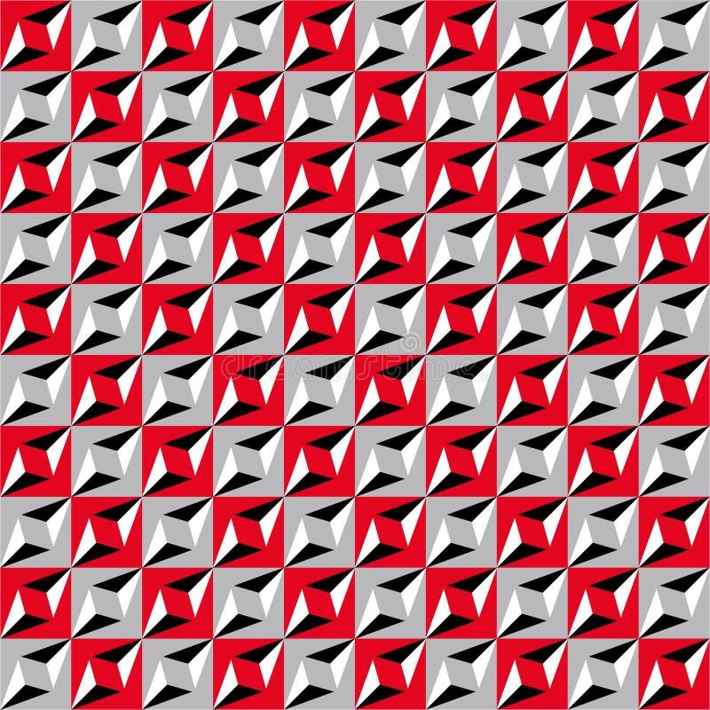 Geometrisk sömlös modell, optisk illusion, vektorbakgrund Prydnad från röda, gråa, vita och svarta fyrkanter, trianglar och l royaltyfri illustrationer