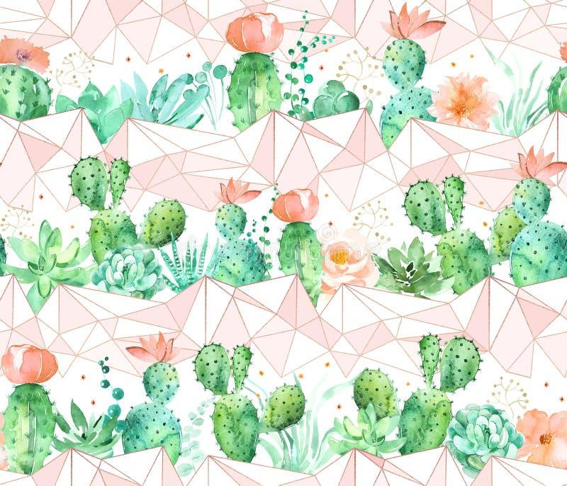 Geometrisk sömlös modellbakgrund för vattenfärg med suckulenter och kaktuns i persika och gröna färger royaltyfri illustrationer