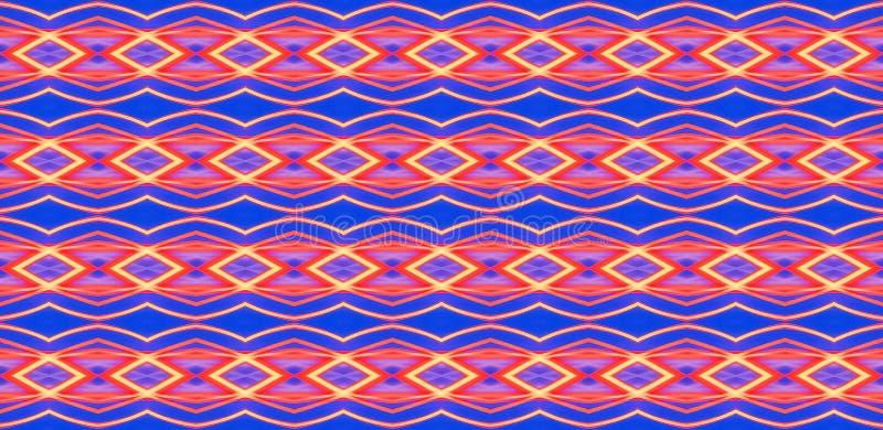 Geometrisk sömlös prydnad av röda beståndsdelar på en blå background_ royaltyfri bild