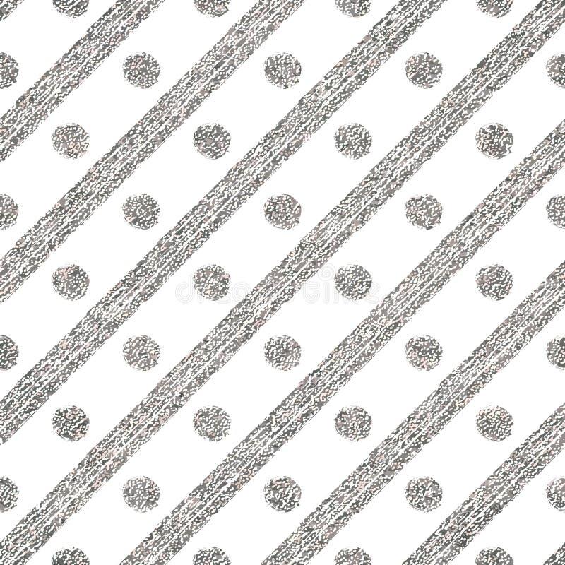 Geometrisk sömlös silvermodell av den diagonalslaglängder och cirkeln vektor illustrationer