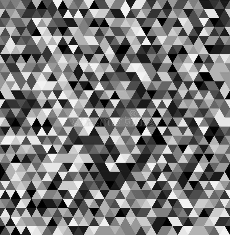 Geometrisk sömlös svartvit bakgrund för abstrakt triangel vektor illustrationer