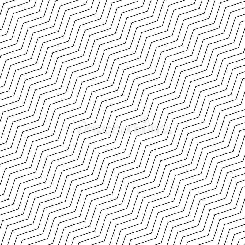 Geometrisk s?ml?s modell f?r sicksack Diagonala linjer för enkel svartvit sicksack på vit bakgrund ocks? vektor f?r coreldrawillu royaltyfri illustrationer