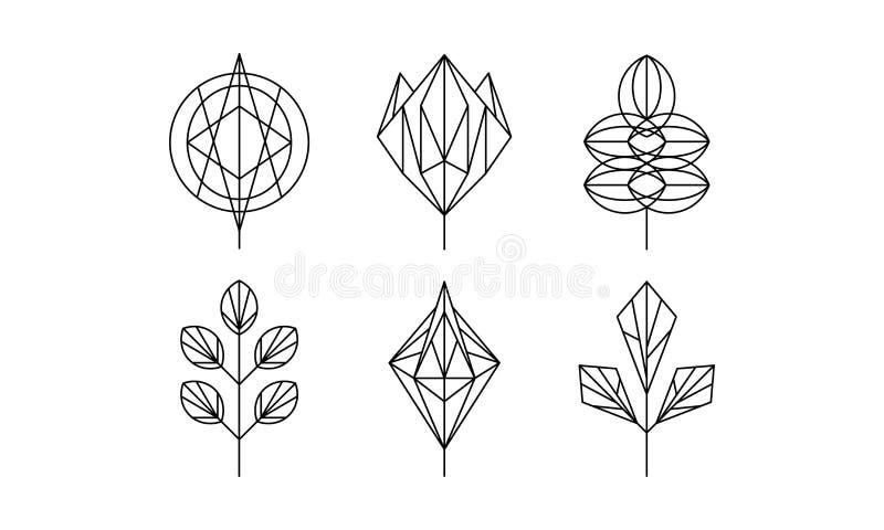 Geometrisk sidauppsättning, monokrom polygonal växtvektorillustration på en vit bakgrund royaltyfri illustrationer