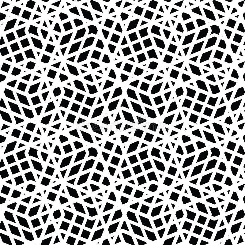 Geometrisk smutsig fodrad sömlös modell, monokromma vektorendles stock illustrationer