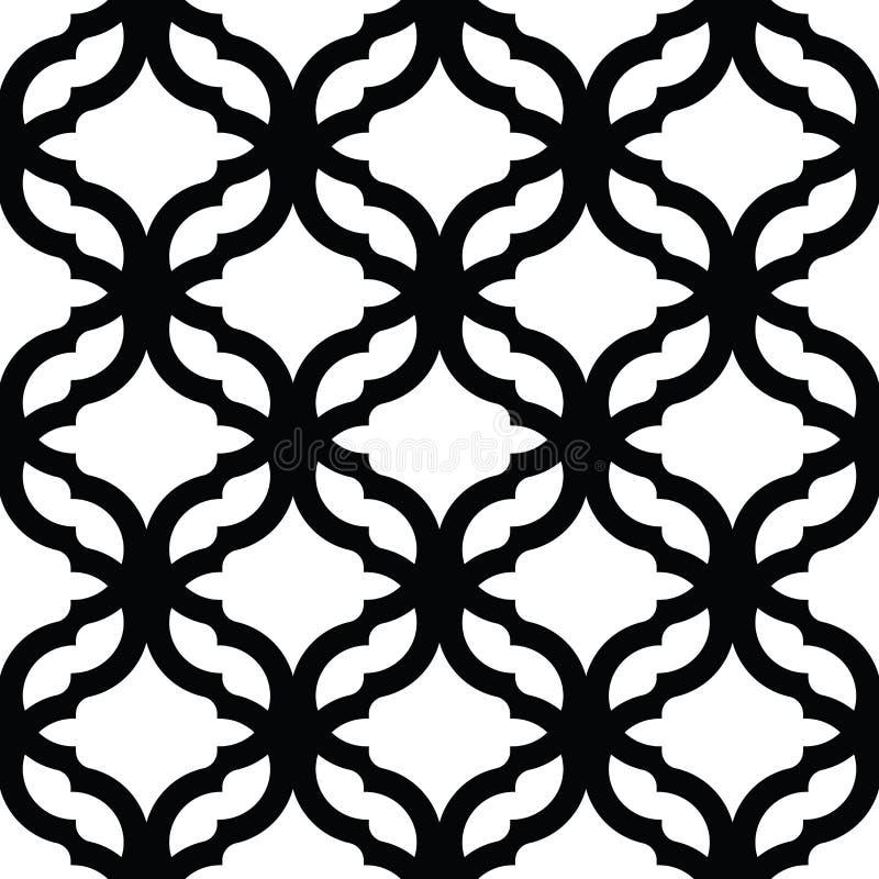 Geometrisk spalj?modell svart seamless white f?r bakgrund Textur för vektor för skärmtryck stock illustrationer