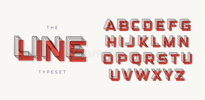 Geometrisk stilsort för modern stil Konturalfabet av linjerna med blandningeffekt och den röda fläcken/skugga Djärva taglinebokst vektor illustrationer