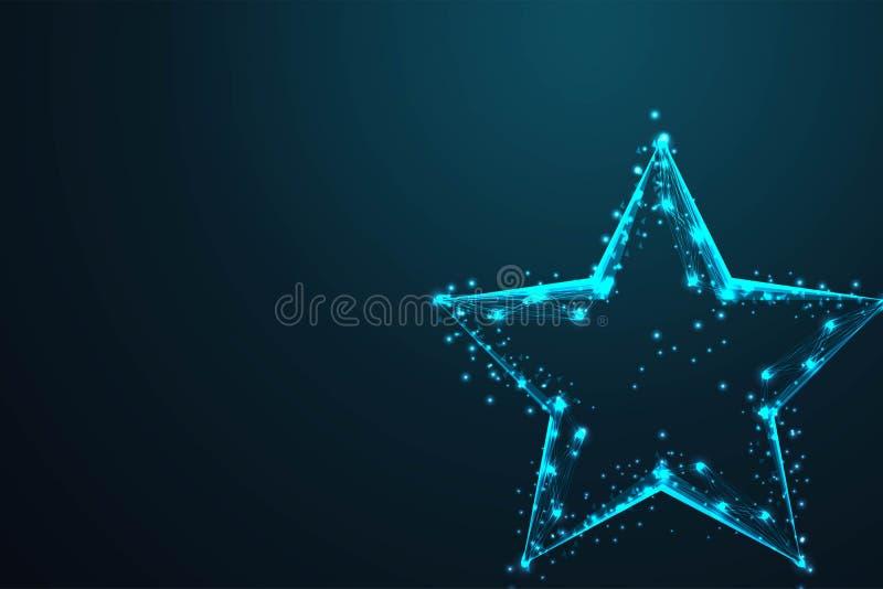 geometrisk stjärnaform, poly för abstrakt tråd det låga Polygonal trådramingreppet ser som konstellation på mörkt - blå natthimme vektor illustrationer