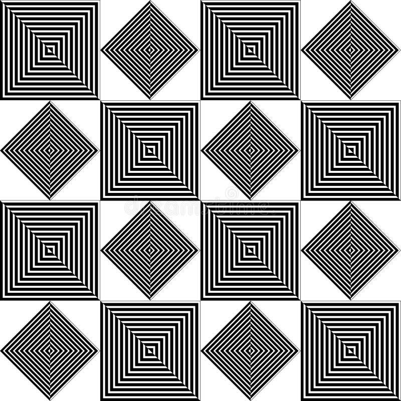 Geometrisk svartvit fyrkantig repetition vektor illustrationer