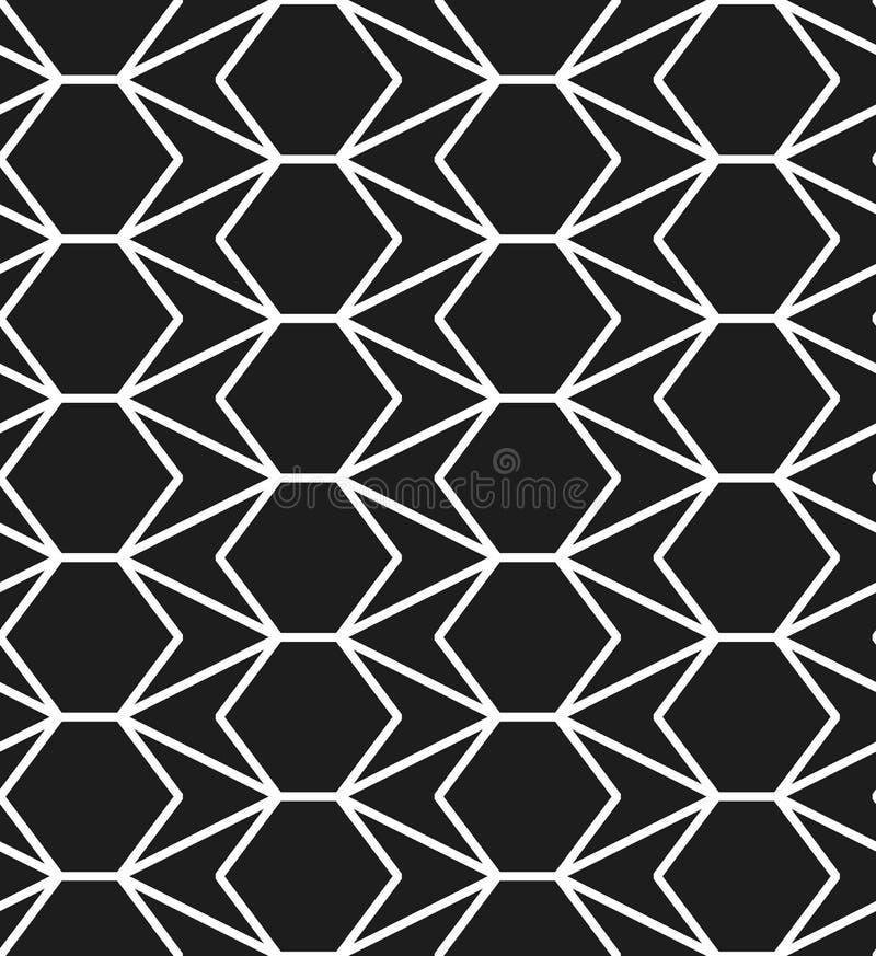 Geometrisk svartvit modell för sexhörning för hipstermodekudde stock illustrationer