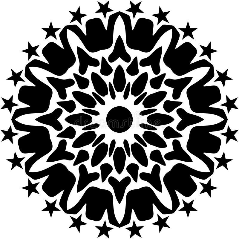 Geometrisk svartvit runda för vektor, abstrakt konst, mandaladesign royaltyfri illustrationer