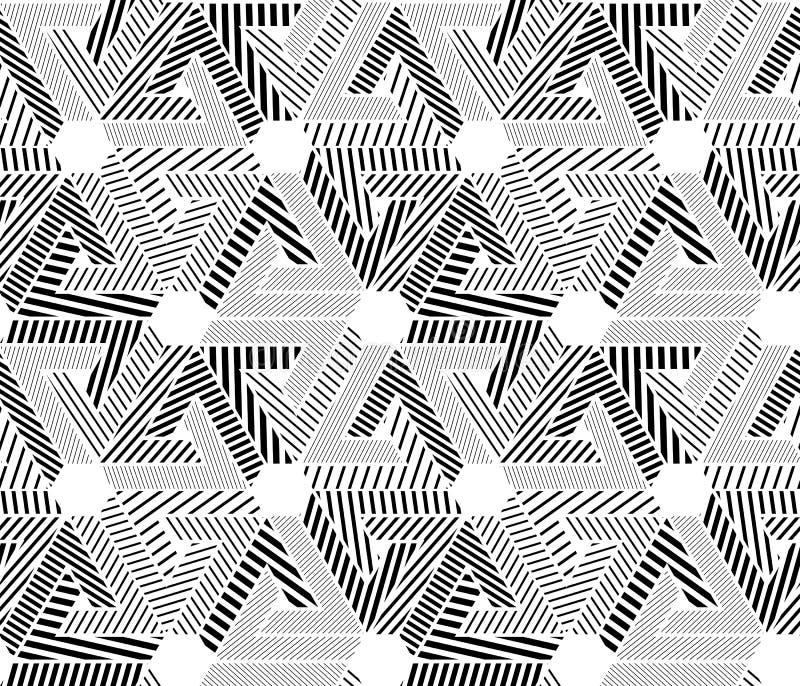 Geometrisk svartvit sömlös modell, ändlös randig vect royaltyfri illustrationer