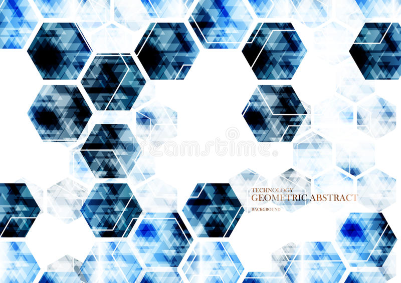 Geometrisk teknologisk digital abstrakt modern blå sexhörningsbac royaltyfri illustrationer